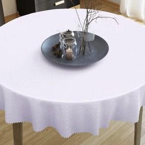 Goldea luxusný teflónový obrus - biely s fialovým nádychom s lesklými štvorčeky - guľatý Ø 60 cm