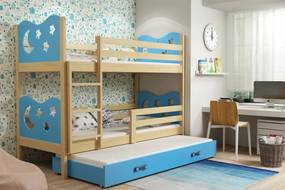 BMS Group Poschodová posteľ s prístelkou MIKO - s úložným priestorom - pre troch - BOROVICA