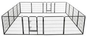 vidaXL Oceľová ohrádka pre psov so 16 panelmi 80x80 cm čierna