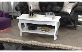 vidaXL Konferenčný stolík s poličkou, MDF, biely