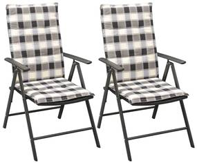 vidaXL Stohovateľné záhradné stoličky 2ks, podložky, polyratan, čierne
