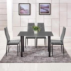 Jedálenský set 4x stolička + stôl Catini AMALIA - sivá