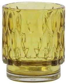 Žltý sklenený svietnik Grace - Ø 7 * 8 cm