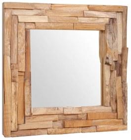 vidaXL Dekoratívne zrkadlo z teakového dreva, 60x60 cm, štvorcové