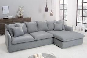 Rohová sedačka Eden, sivé plátno