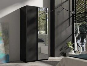 MEBLINE Posuvná šatňa RICK 100 Čierny +  Zrkadlá