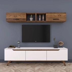 Set bieleho TV stolíka a nástennej skrinky v dekore orechového dreva Rani