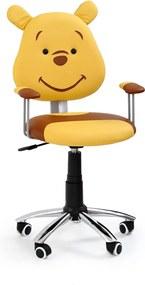HALMAR Kubuś detská stolička na kolieskach s podrúčkami žltá / hnedá