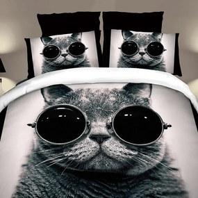 HOD Posteľné obliečky COOL CAT 7 set 140x200cm ZIPS