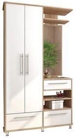 NABBI Naven WSM predsieň s vešiakovým panelom a zrkadlom dub sonoma / biela