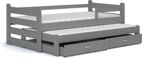 Sivá posteľ s výsuvným lôžkom Cristo 195x80 color