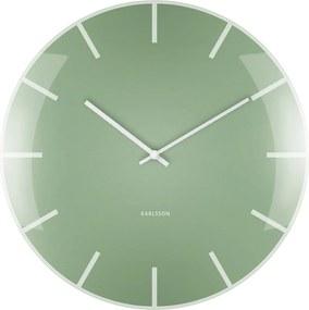 KARLSSON Nástenné hodiny Glass Dome zelené