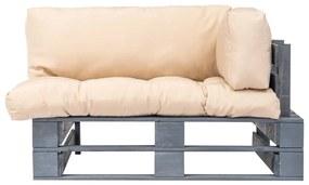 vidaXL Záhradná sedačka z paliet s béžovými podložkami, FSC borovica