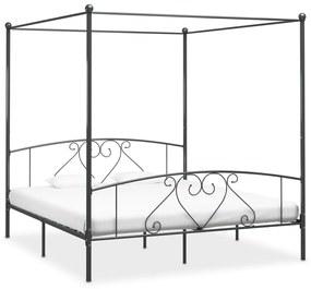 vidaXL Posteľný rám s baldachýnom, sivý, kov 200x200 cm