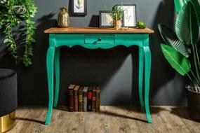 Písací stôl Miley, zelený / mahagón