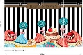 Fototapeta GLIX - Cupcakes Retro 3 + lepidlo ZADARMO Vliesová tapeta  - 416x254 cm
