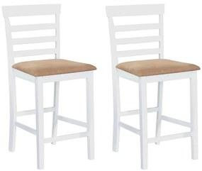 Bielo béžové drevené barové stoličky, 2 ks