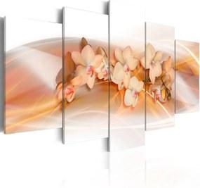 Obraz na plátne Bimago - Větvička orchideje s oranžovými květy 200x100 cm