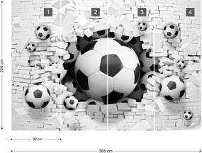 Fototapeta GLIX - 3D Footballs Bursting Through Brick Wall + lepidlo ZADARMO Papírová tapeta  - 368x254 cm