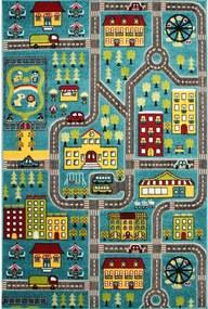 Detský kusový koberec Veľké mesto modrý, Velikosti 120x170cm