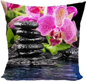 Vankúš Orchidea s čiernymi kameňmi (Veľkosť: 55 x 55 cm)