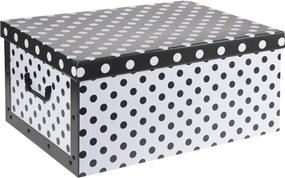 Home collection Úložné krabice se vzorem Puntíky 51x37x24cm černá