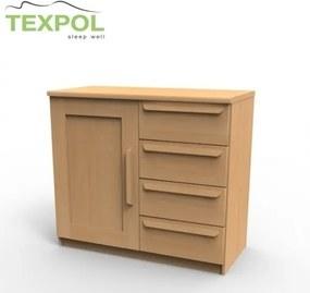 TEXPOL Kvalitná masívna komoda P2DZ Materiál: BUK morenie orech