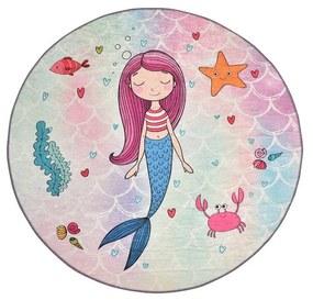 Detský protišmykový koberec Chilam Mermaid, ø 140 cm