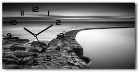 Sklenené hodiny na stenu Kamenná pláž pl_zsp_60x30_f_86464123