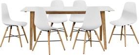 [en.casa]® Dizajnový bambusový jedálenský stôl HTNT4302 so 6 bielymi stoličkami HTMD-6524