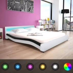 vidaXL Rám postele s LED pásom, 160x200 cm, umelá koža