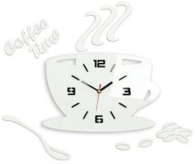 Mazur Nástěnné hodiny Coffee bílé