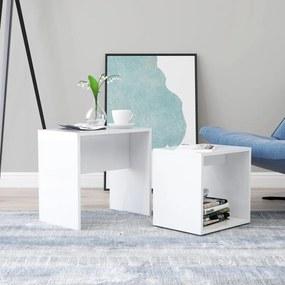 vidaXL Sada konferenčných stolíkov lesklá biela 48x30x45 cm drevotrieska
