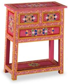 vidaXL Prístavný stolík z mangovníkového dreva so zásuvkami, ružový, ručne maľovaný