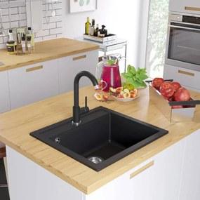 vidaXL Žulový kuchynský drez s jednou vaničkou, čierny