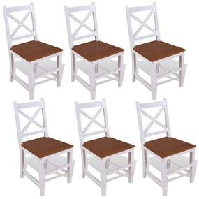 vidaXL Jedálenské stoličky, 6 ks, masívne teakové a mahagónové drevo