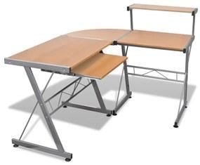 vidaXL Hnedý počítačový stôl s vysúvacou doskou pre klávesnicu