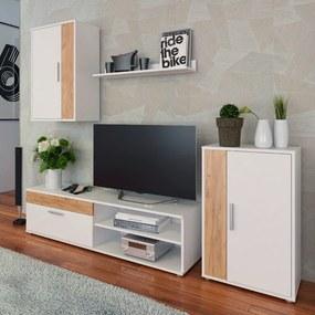 Obývacia stena, biela/dub artisan, KEVIN