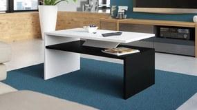 PRIMA biela / čierna, konferenčný stolík, čiernobiely, obdĺžnikový, lamino, moderni