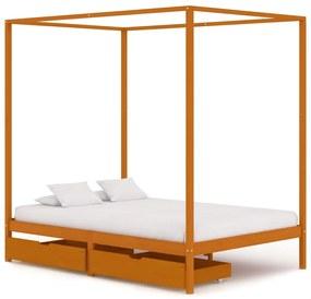 vidaXL Posteľný rám, baldachýn, 2 zásuvky, borovicový masív 120x200 cm