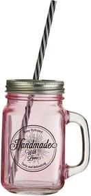 Ružový pohár s viečkom a slamkou Premier Housewares Mason, 450 ml