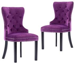 vidaXL Jedálenské stoličky 2 ks fialové zamatové