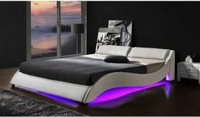 Posteľ PASCALE biela s LED osvetlením Tempo Kondela 180 x 200 cm