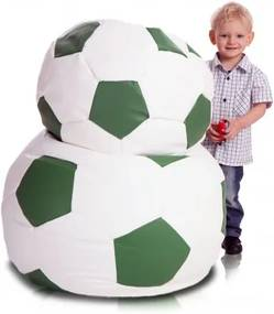 Sedací vak ECOPUF - FOOTBALL L - ekokoža Smotanovo biela