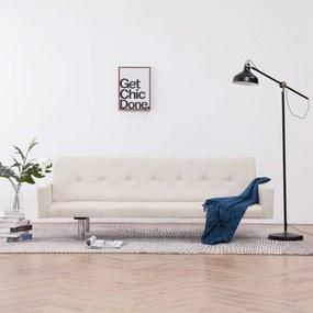 vidaXL Rozkladacia pohovka s opierkami, krémová, polyester