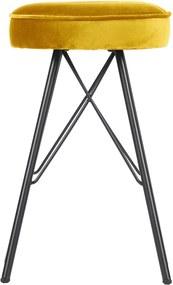 Žltá barová stolička so zamatovým poťahom WOOOD, výška 53 cm