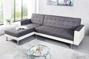 Bighome - Rozkladacia rohová sedačka CHEISA - antracitová/biela