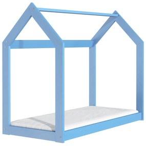 Drevobox Drevená posteľ domček 160 x 80 cm modrá + rošt