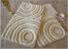 Sada 3 krémovobielych kúpeľňových podložiek s nitkami v zlatej farbe Wave