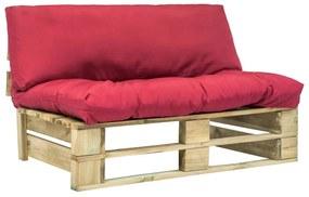 vidaXL Záhradná sedačka z paliet s červenými podložkami, FSC borovica